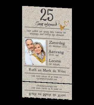 Enkele Uitnodiging 25 Jaar Getrouwd Lijn En Kraft