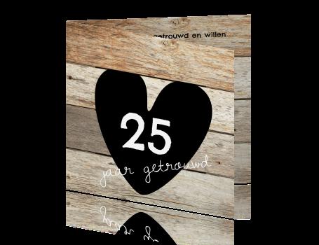 Genoeg 25 jarig jubileum uitnodigingskaart groot hart en hout print @WC68
