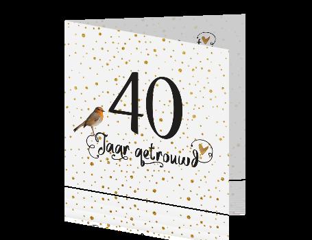 40 jaar getrouwd kleur 40 jaar getrouwd uitnodiging met goud confetti en handlettering 40 jaar getrouwd kleur