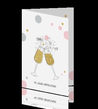 Voorkeur Feestelijke uitnodiging 40 jaar getrouwd champagne glazen @GX48