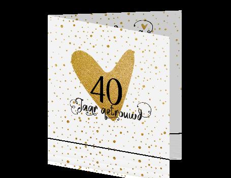 40 jaar getrouwd goud Gouden huwelijk 40 jaar uitnodiging met confetti en Handlettering 40 jaar getrouwd goud