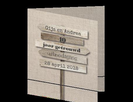 40 jaar huwelijk uitnodiging Uitnodiging 40 jaar huwelijk met hout en linnen print 40 jaar huwelijk uitnodiging