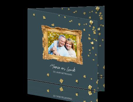 kaarten 50 jarig huwelijk 50 jaar getrouwd kaart foto met gouden confetti snippers kaarten 50 jarig huwelijk