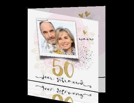 Wonderbaar Foto gouden huwelijk uitnodiging met watercolor en sier fonts ZP-39
