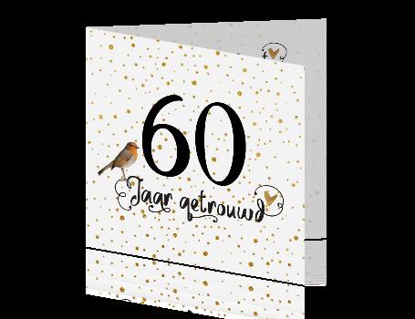 Nieuw 60 jaar getrouwd uitnodiging met goud confetti en handlettering NU-58