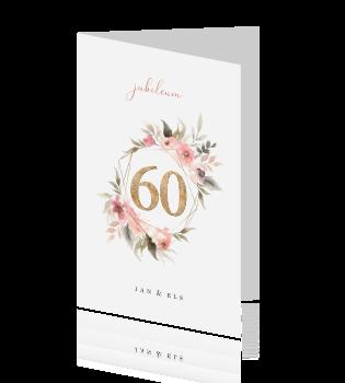 Uitgelezene Romantische uitnodiging 60 jaar getrouwd bloemen UY-48