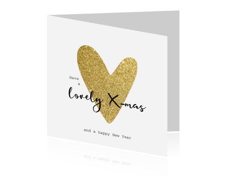 Chique Kerstkaart Wit Goud Glitter Hart En Letter Brush