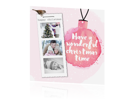 Hippe enkel fotostrip kerstkaart met watercolour design