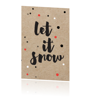 Kraft design kerstkaart met confetti - let it snow
