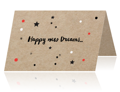 Kraft design nieuwjaarskaart met confetti - happy new dreams