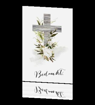 Ongebruikt Liefdevolle bedankkaart met houten kruis en bloemen FI-53