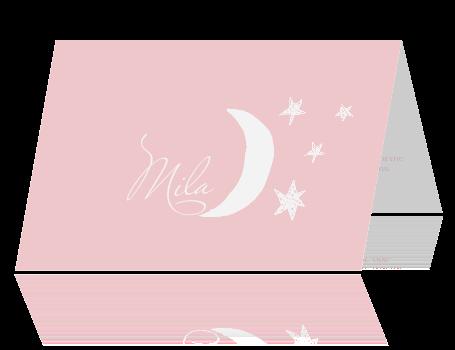 Lief baby bidprentje meisje sterren en maan