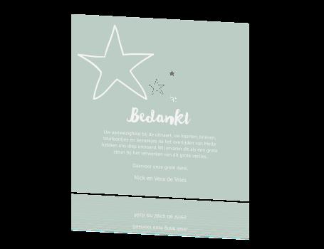 Bedankkaartje baby jongen met sterretjes