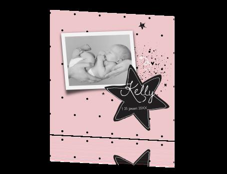 Lieve rouwkaart baby meisje eigen foto en ster