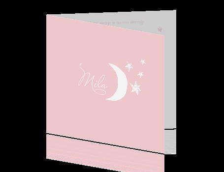 Stijlvol baby rouwkaartje meisje sterren en maan