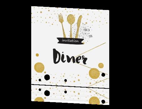 Top Diner uitnodiging goud bestek en confetti zelf maken KX03