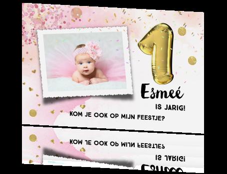 Iets Nieuws Glamour uitnodiging eerste verjaardag meisje @VO14