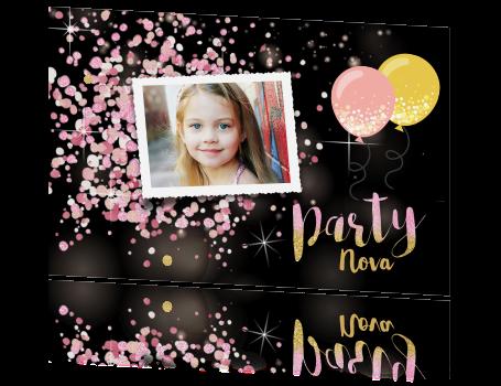 0ab90dd229c Hippe glitter uitnodiging verjaardag feestje meisje