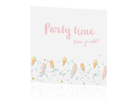 Verbazingwekkend Uitnodiging kinderfeestje meisje ijsjes en confetti DI-33